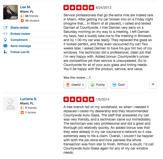 Countywide Auto Glass Yelp reviews 5 of 5